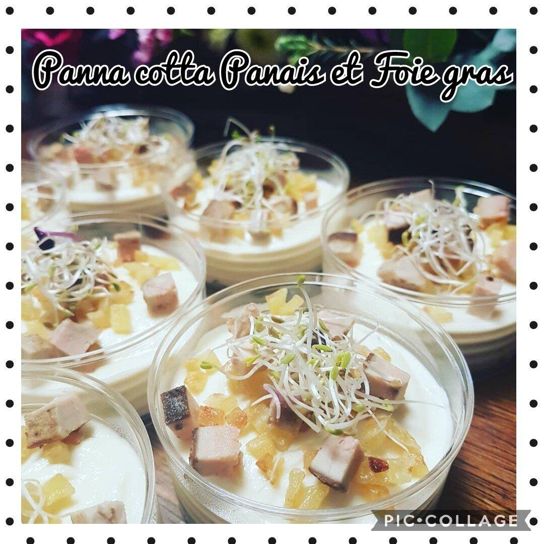 Panna cotta Panais & Foie Gras, brunoise de panais confits à l'huile d'olive, petits cubes de foie gras poêlés, graines germées