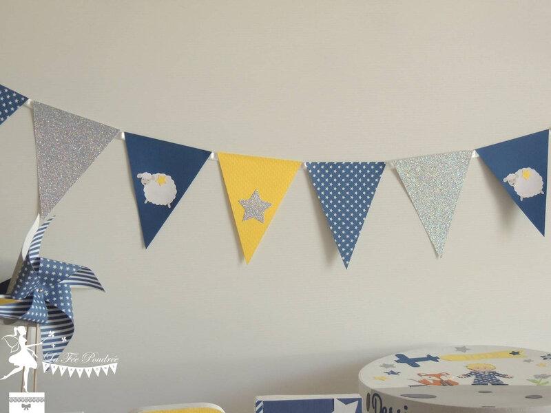 deco bapteme theme le petit prince bleu marine jaune argent guirlande fanions moulin urne boite souvenirs