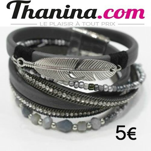 bracelet couleur-double-tour-perle-strass-plume-metal-brcl089 - Copie