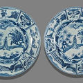 Two blue and white porcelain plates from the 'san diego' cargo
