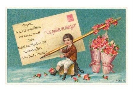 LT_00068_C_Bonne_Annee_garcon_inscrivant_l_adresse_sur_une_carte_postale_geante_Affiches