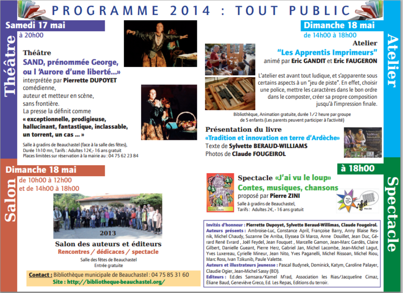 BEAUCHASTEL - 18 MAI 2014 - ANIMATIONS, AUTEURS PRESENTS