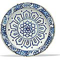 A blue and white iznik pottery dish, ottoman turkey, late 16th century