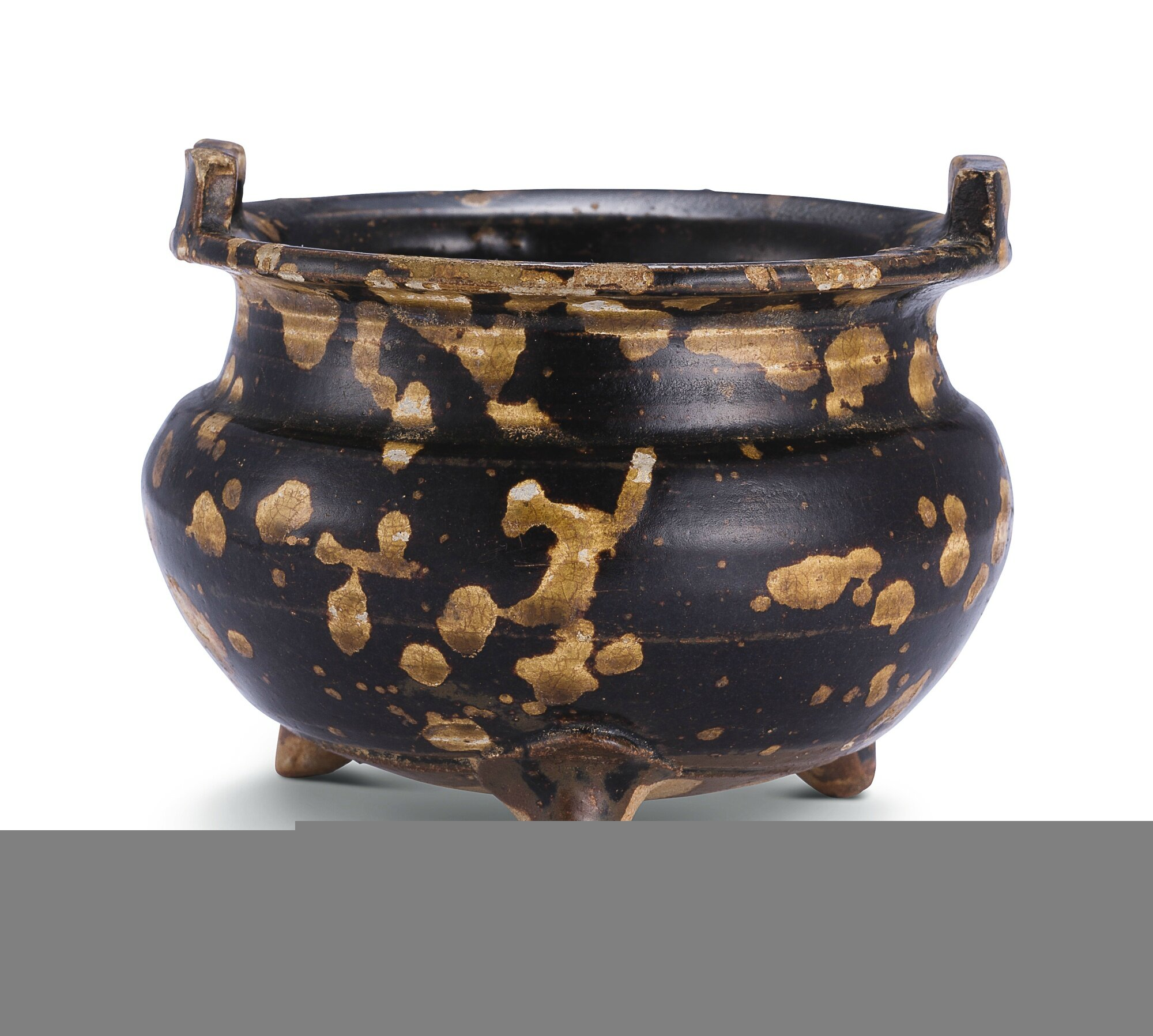 A 'Jizhou' 'tortoiseshell'-glazed tripod incense burner, Song dynasty (960–1279)