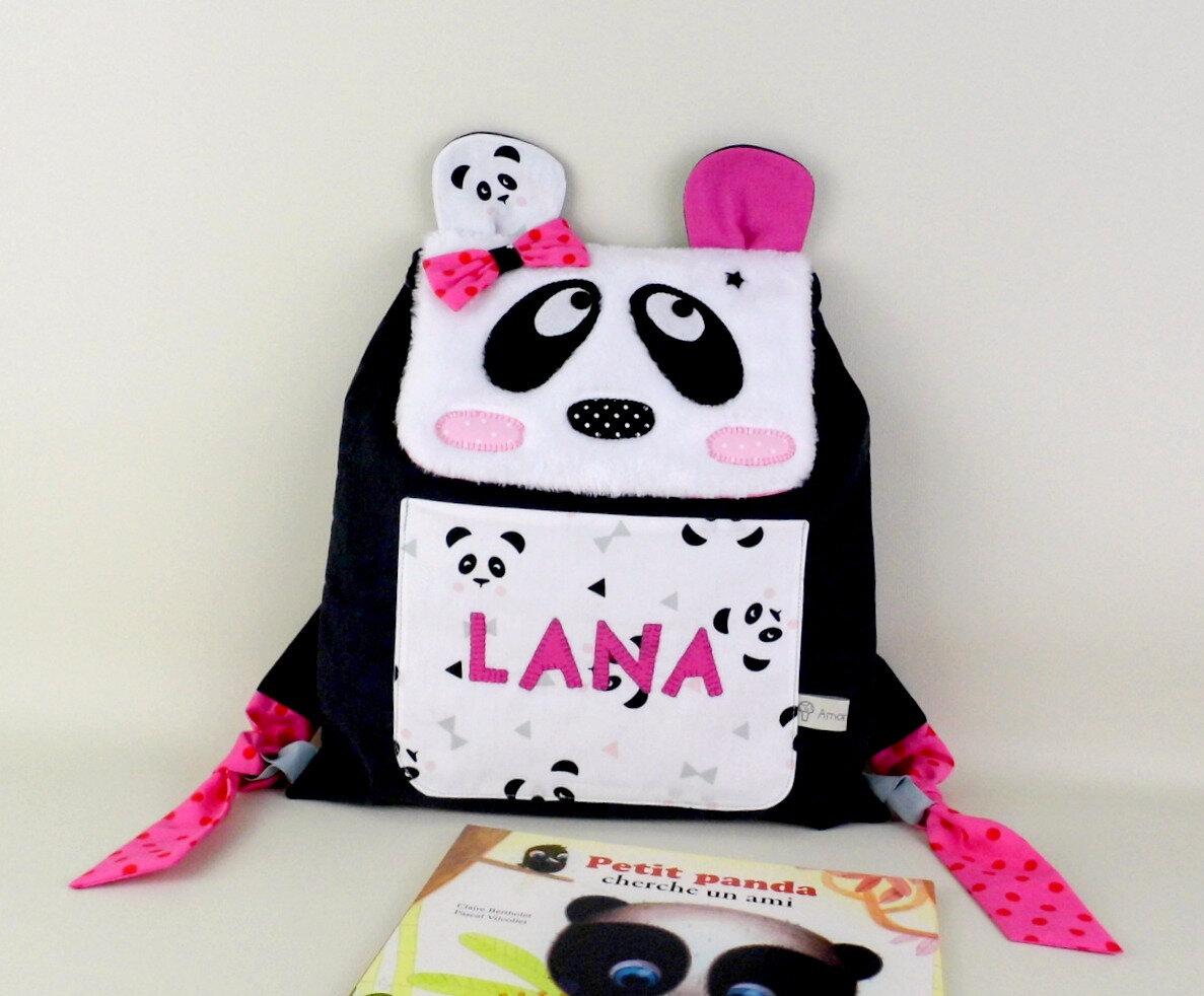 Sac à dos panda personnalisé Lana sac à dos maternelle personnalisé prénom rose gris