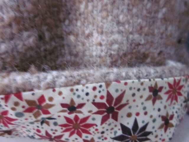 Chapeau AGATHE en lainage beige caramel avec fleur - doublure Liberty véritable automne - taille 56 (1)