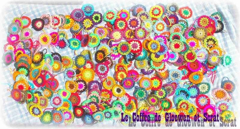 Couverture patchwork sunburst au crochet