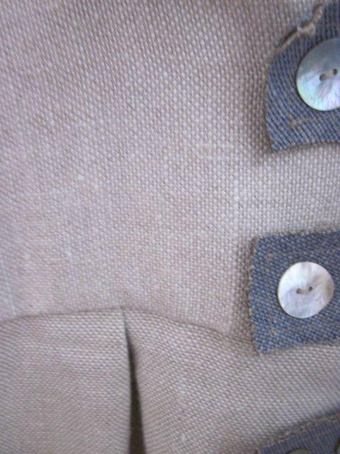 manteau en lin beige et bleu à pattes (4)