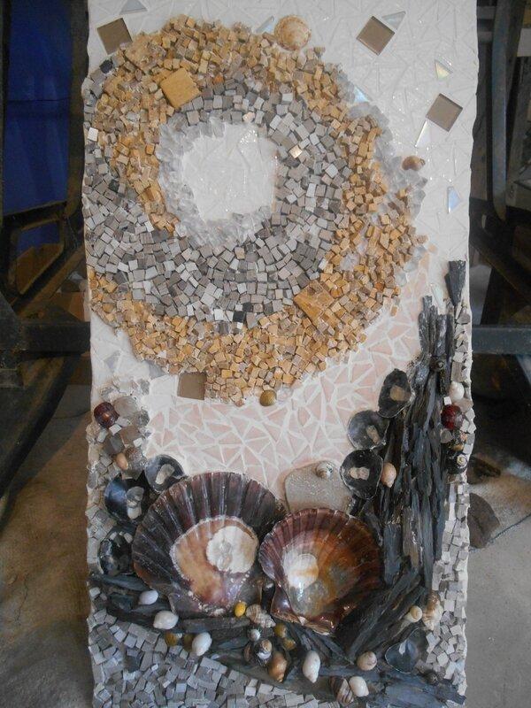 marbre, pierre, coquillage, verre