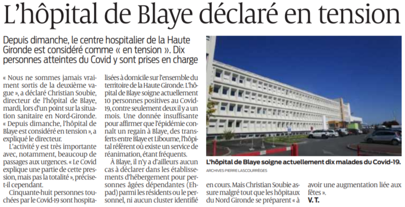2021 01 08 SO L'hôpital de Blaye déclaré en tension