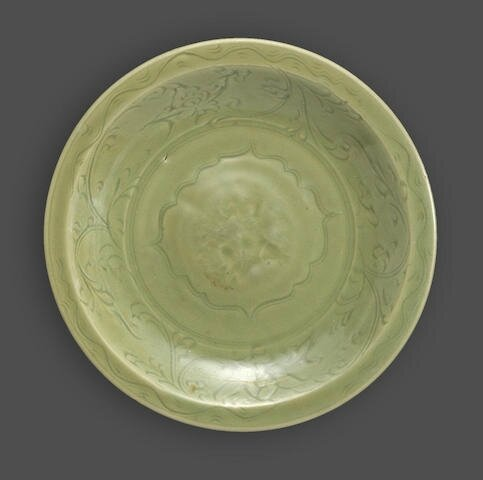 A Longquan celadon deep dish with incised and stamped decoration, Ming dynasty