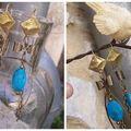 BO bronze et turquoise reconstituée pour Lilicop