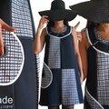 MOD 370A Robe Trapèze Graphique noir blanc sixties année 60