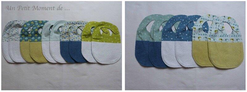 bavoirs tons bleu et vert 4