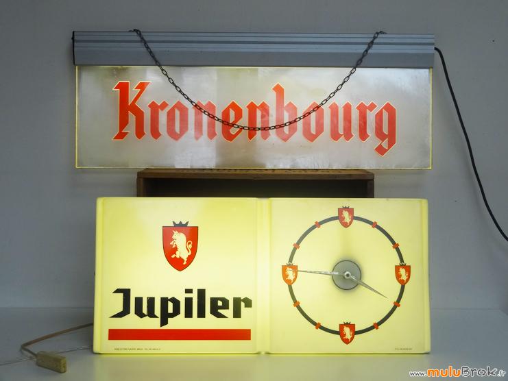 ENSEIGNE-BIERE-Kronenbourg-Jupiler-muluBrok-Pub-Vintage