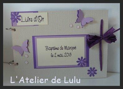 livre d'or bapteme fleurs et papillons violet
