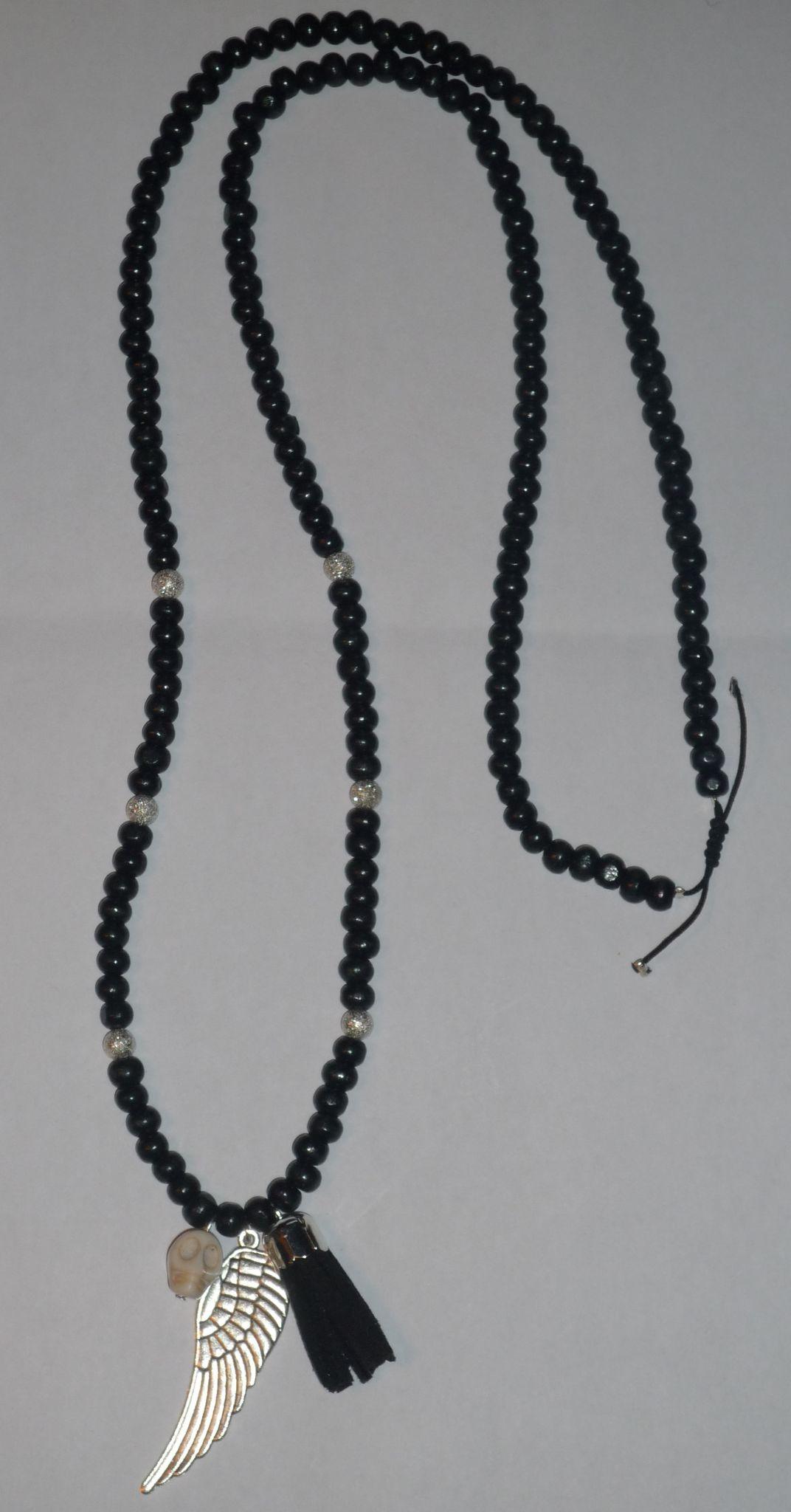 Sautoir 'Aile, Skull, Pompon' Bois noir et perles pailletées