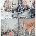 4 aquarelles de new york, 4 styles différents