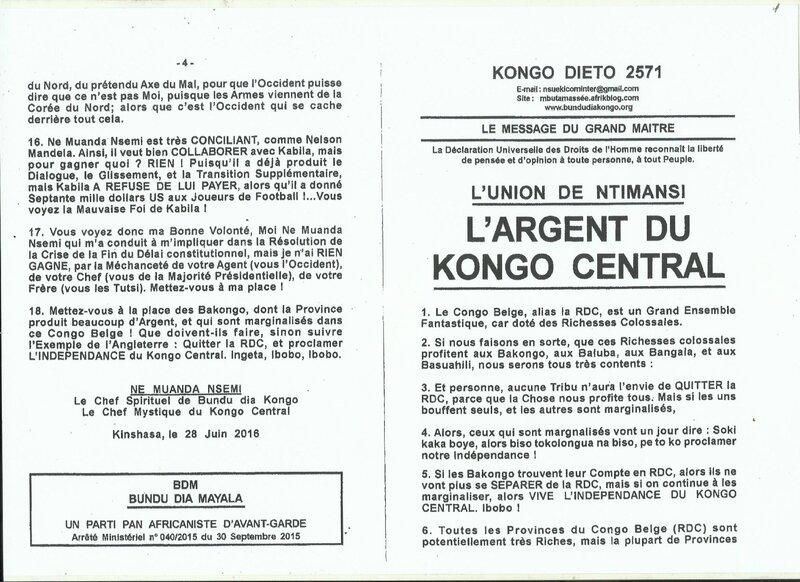 L'ARGENT DU KONGO CENTRAL a