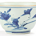 A blue and white bowl, qing dynasty, dated 1666