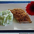 Escalopes de veau panees, salade de concombre ( et la variante : cordon bleu)