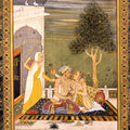 Jahangir with a lady. by a hyderabad artist, circa 1760 a.d..