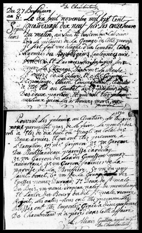 procès-verbal combat chambretaud nov 1799