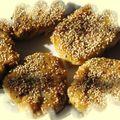 Galettes de lentilles corail au sésame sauce piquante