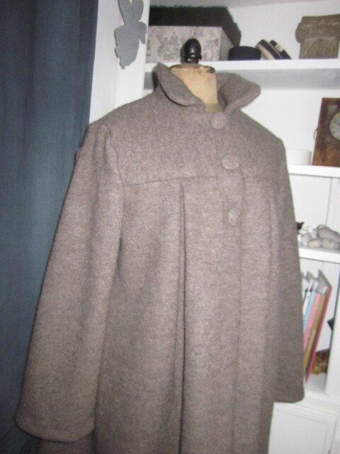 Manteau AGLAE en laine bouillie beige chiné - taille 52 - sans noeud (5)