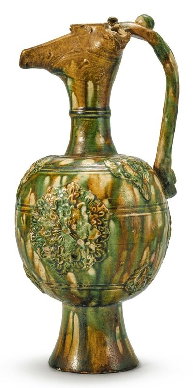 A Rare Green-Glazed Phoenix-Head Pottery Ewer, Tang dynasty (618-907)