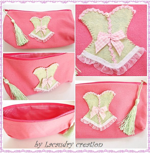 trousse corset lady ROSE ET VERT LACAUDRY CREATION