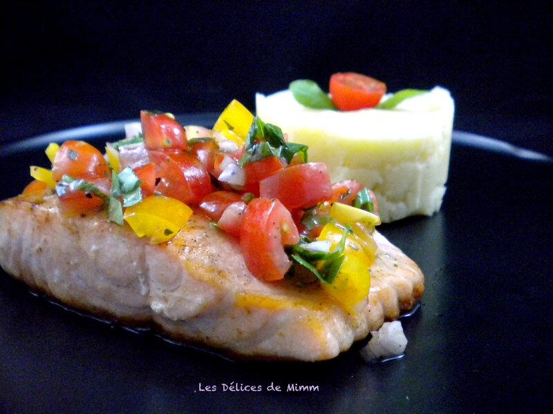 Pavé de saumon et sa sauce vierge 4