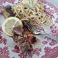Brochettes de bœuf au lemon curd et aux pâtes maison à la fourme de montbrison