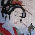 Estampe geisha à la chataigne
