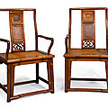 Two 'huanghuali' continuous back armchairs, 19th-20th century