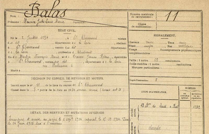 BALAS Maurice, fiche matricule (1)