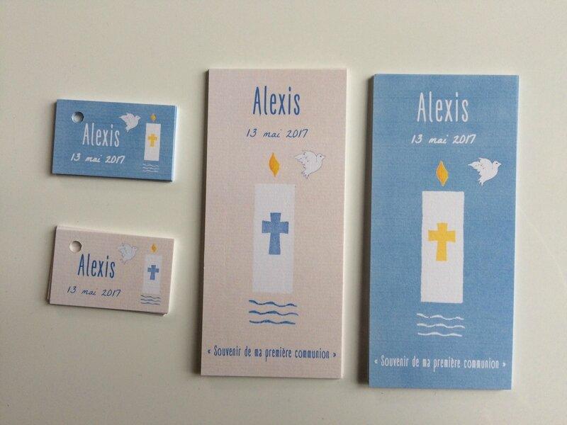 Signets de communion et étiquettes dragées Alexis 130517