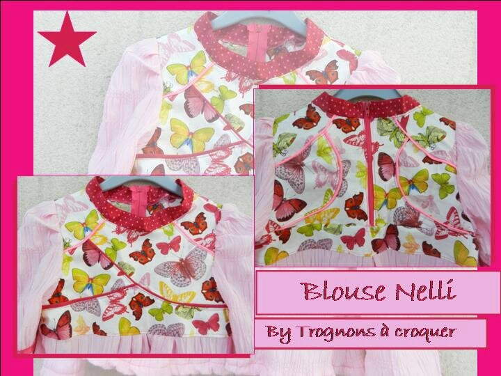 Blouse Nelli papillon rose