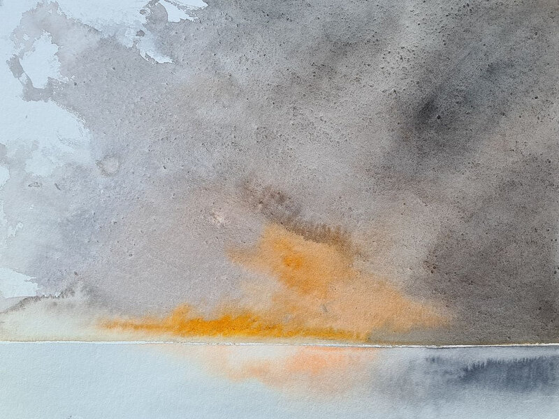Grain orange au dessus de l'Anse de l'Aiguillon, aquarelle, octobre 2020
