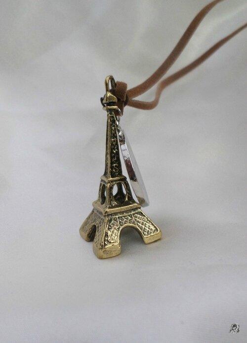 Pendentif Fashion Tour Eiffel Métal Bronze_ Pièce Ronde Métal Argenté