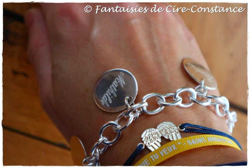 bracelet bouée argent massif 4 médailles 20 mm plates-2