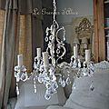 Lustre 5 branches patine lin pampilles cristal decoration de charme shabby