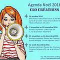 Clocréations : agenda noël 2016