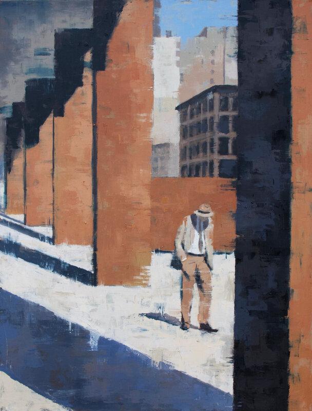 Homme au chapeau, Chicago 50*65cm, huile sur toile