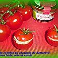 Tomate cocktail au concassé de betterave et chèvre frais, noix et cumin