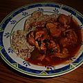 Curry wurst au reste de barbac
