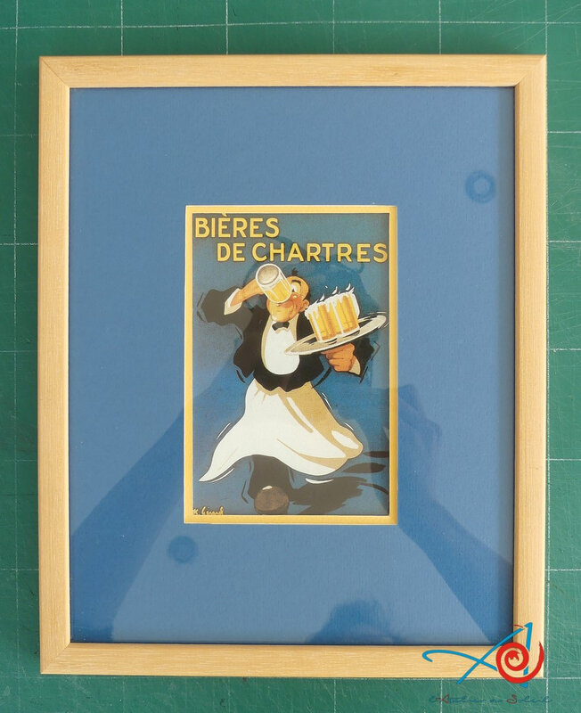 Carte Bière de Chartres encadrée L'Atelier au soleil