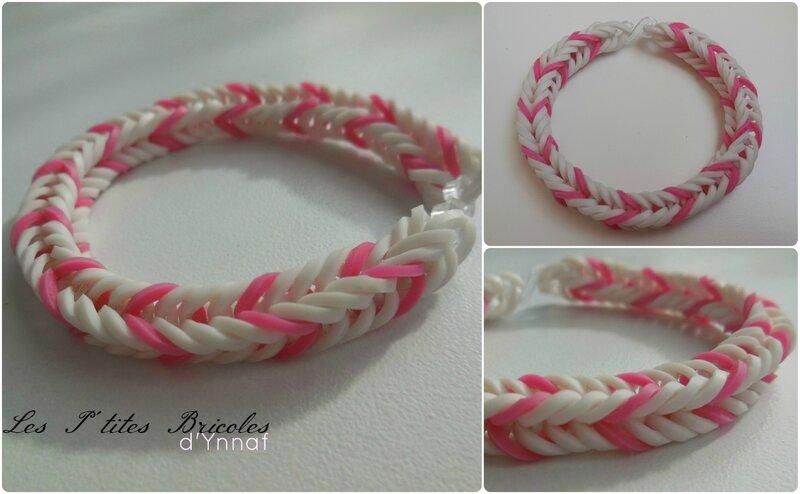 rainbow loom rose et blanc enfant