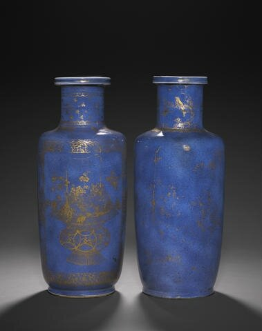 Two powder blue and gilt decorated rouleau vases, Kangxi. Photo Bonhams