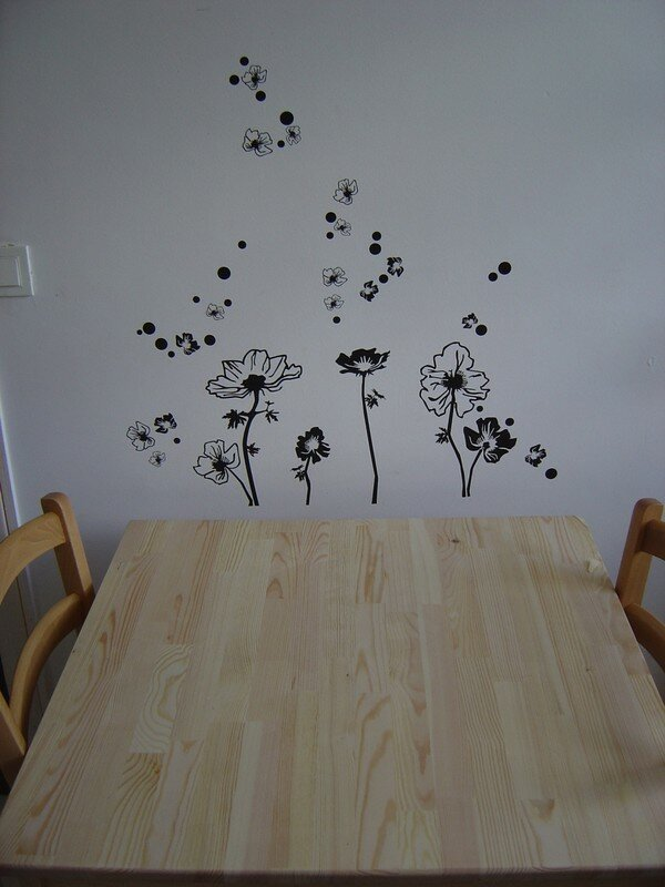 stickers fleurs dans la cuisine id. Black Bedroom Furniture Sets. Home Design Ideas